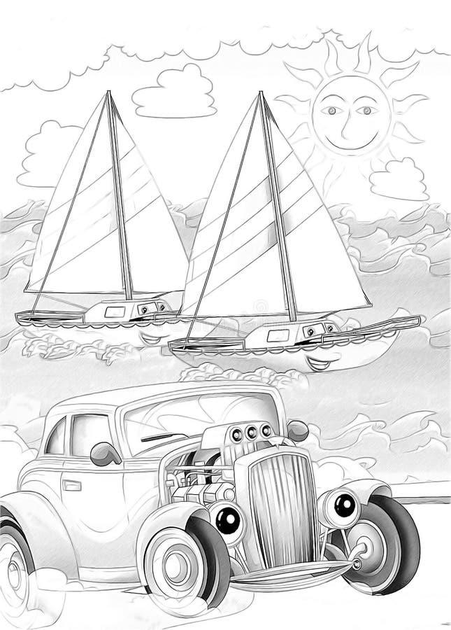 Maskiner - konstnärlig färgläggningsida royaltyfri illustrationer