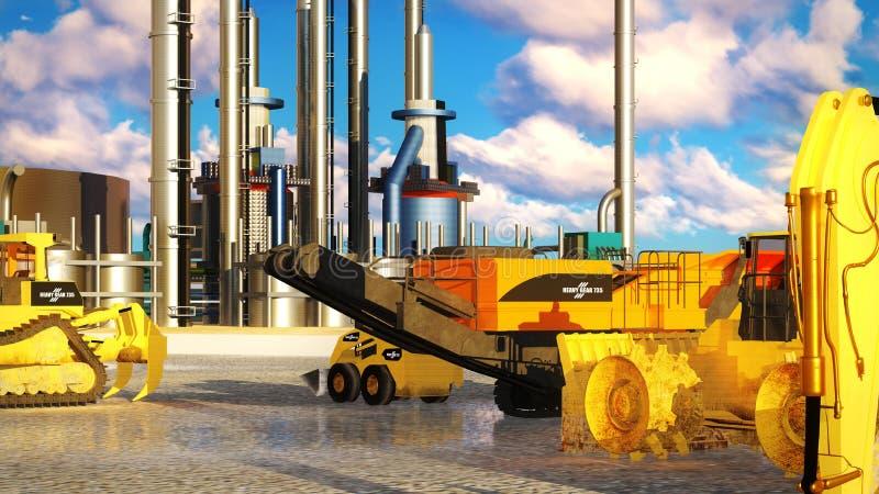Maskiner på oljeraffinaderiet stock illustrationer