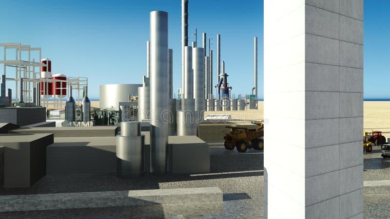 Maskiner på oljeraffinaderiet royaltyfri illustrationer