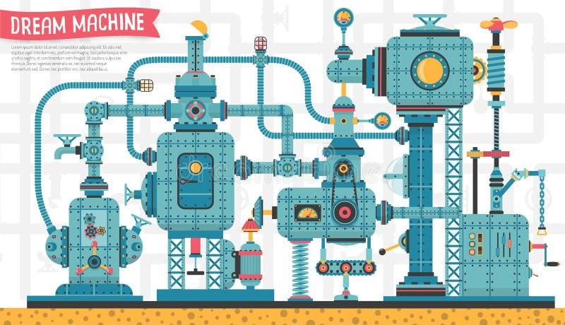 Maskineristeampunkmaskin vektor illustrationer
