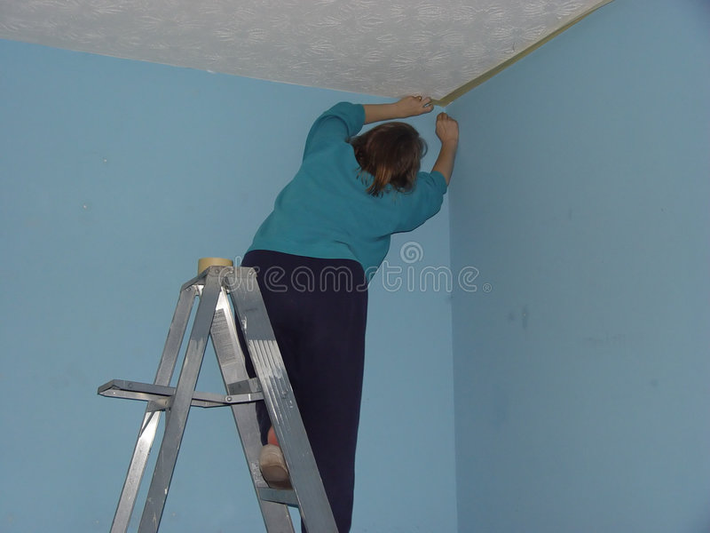 Masking. Wall before painting royalty free stock photo