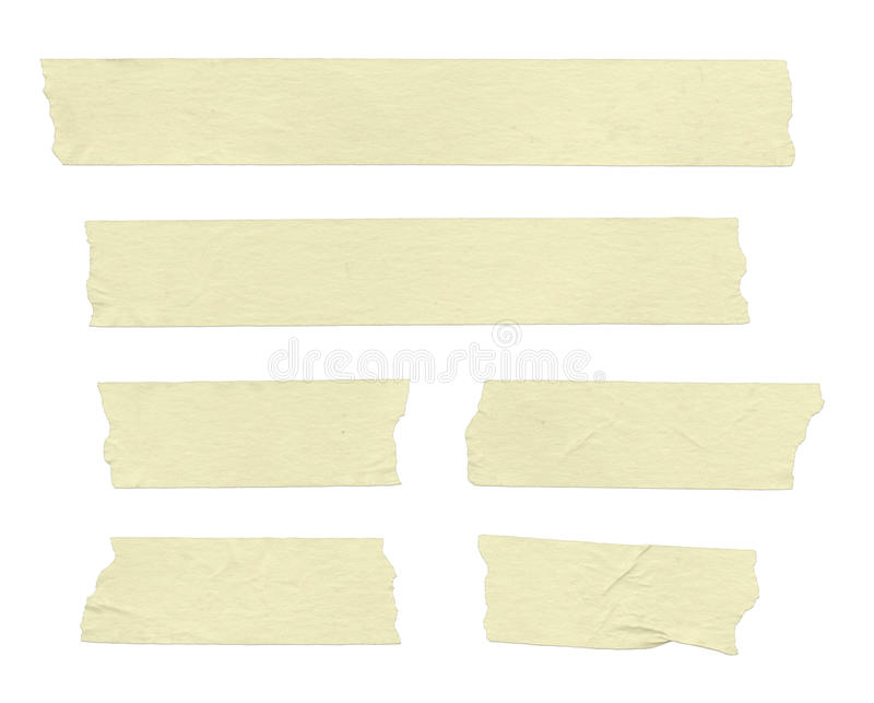 Masking Tape. Strips of masking tape. Isolated on white. Clipping path included stock photography