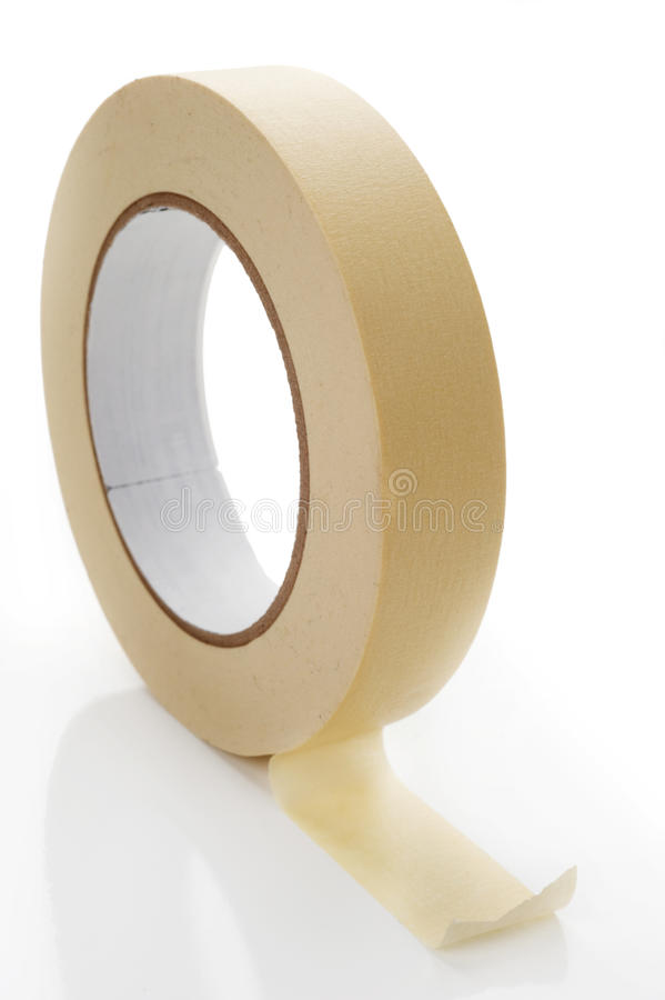 Masking Tape. Extreme close-up image of a roll of masking tape on white royalty free stock photo