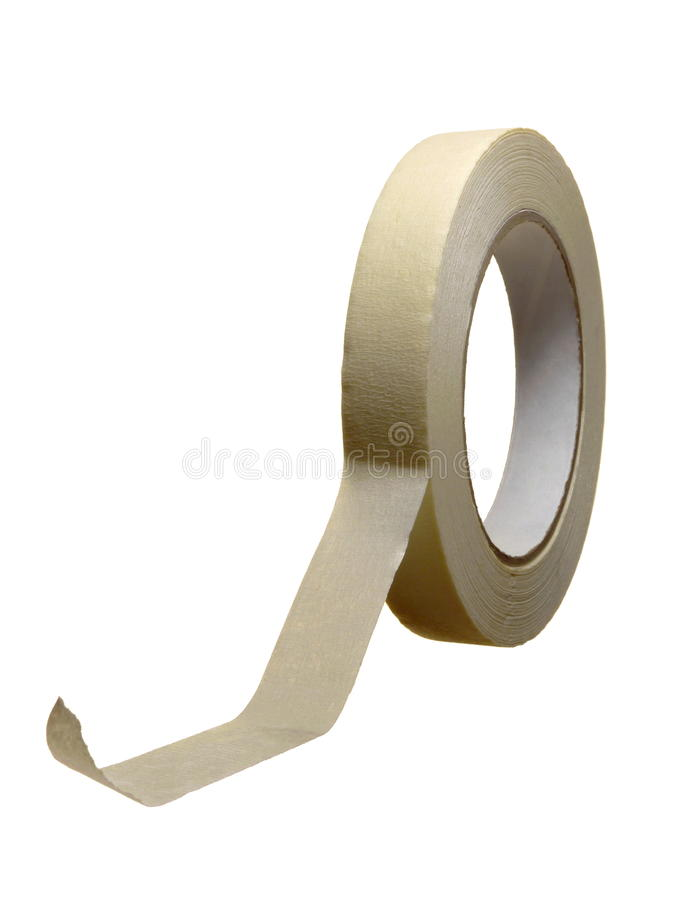 Masking Tape. A roll of masking tape, isolated over pure white royalty free stock images