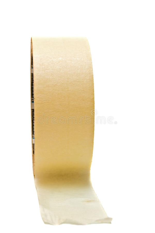 Masking tape. Yellow masking tape isolated on white background stock photo