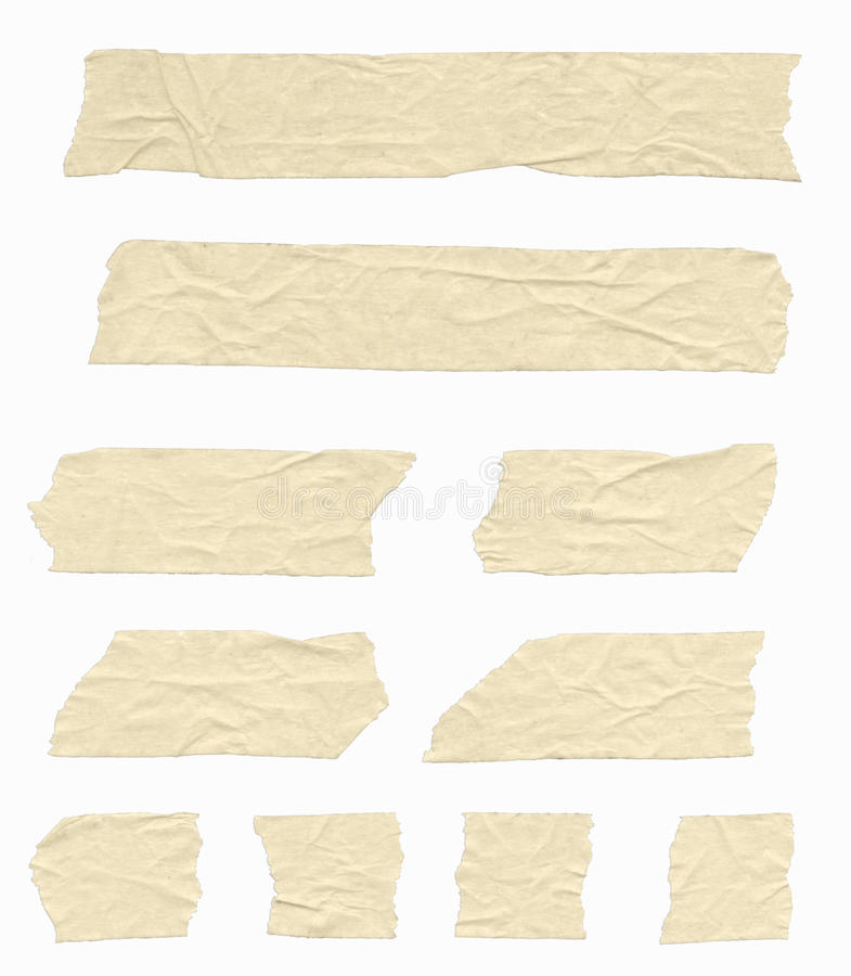 Masking Tape. Strips of wrinkled masking tape. Isolated on white. Clipping path included stock images