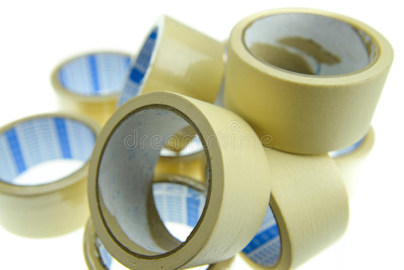 Masking tape. The masking tape on the plain background stock photography
