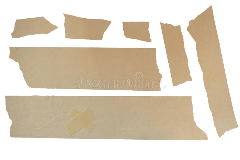 Masking Tape. Set of used masking tape pieces royalty free stock image