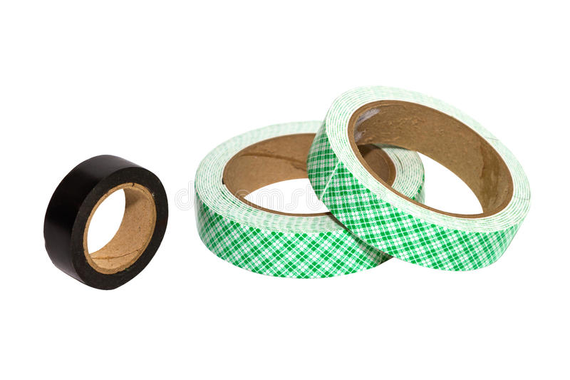 The Masking tape on white isolate with clipping paths. royalty free stock image