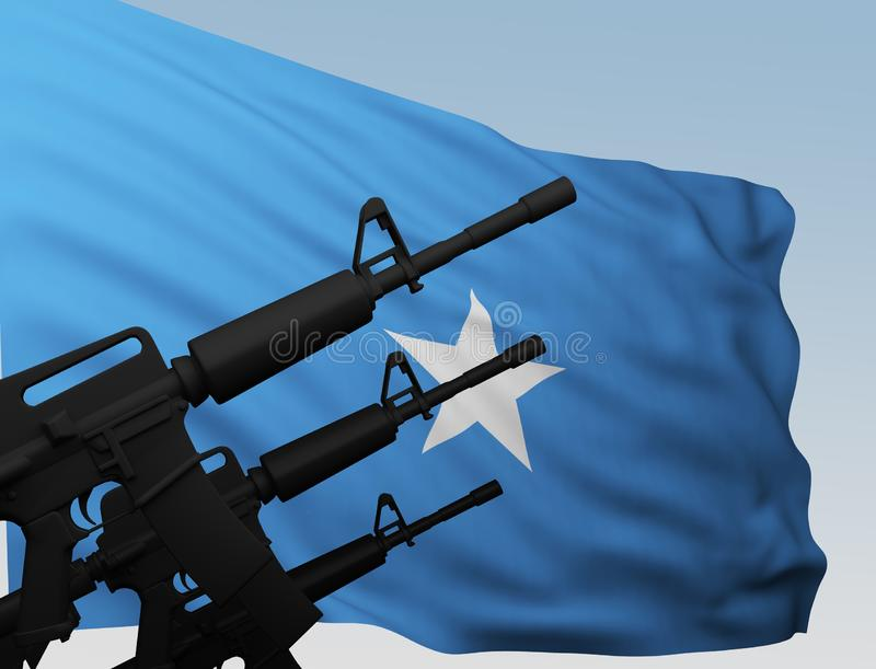 Maskingevär med flaggan Somalia vektor illustrationer