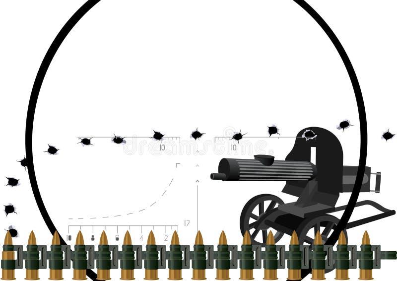 Maskingeväret och skjuter med kulspruta kuter vektor illustrationer