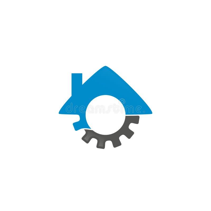 Maskinhus Logo Inspiration vektor illustrationer