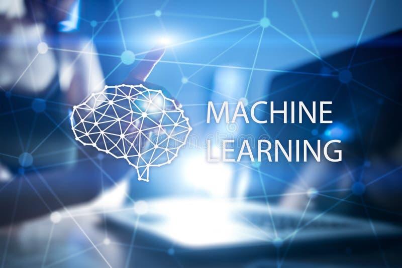Maskinl?rande teknologi och konstgjord intelligens i modern tillverkning vektor illustrationer