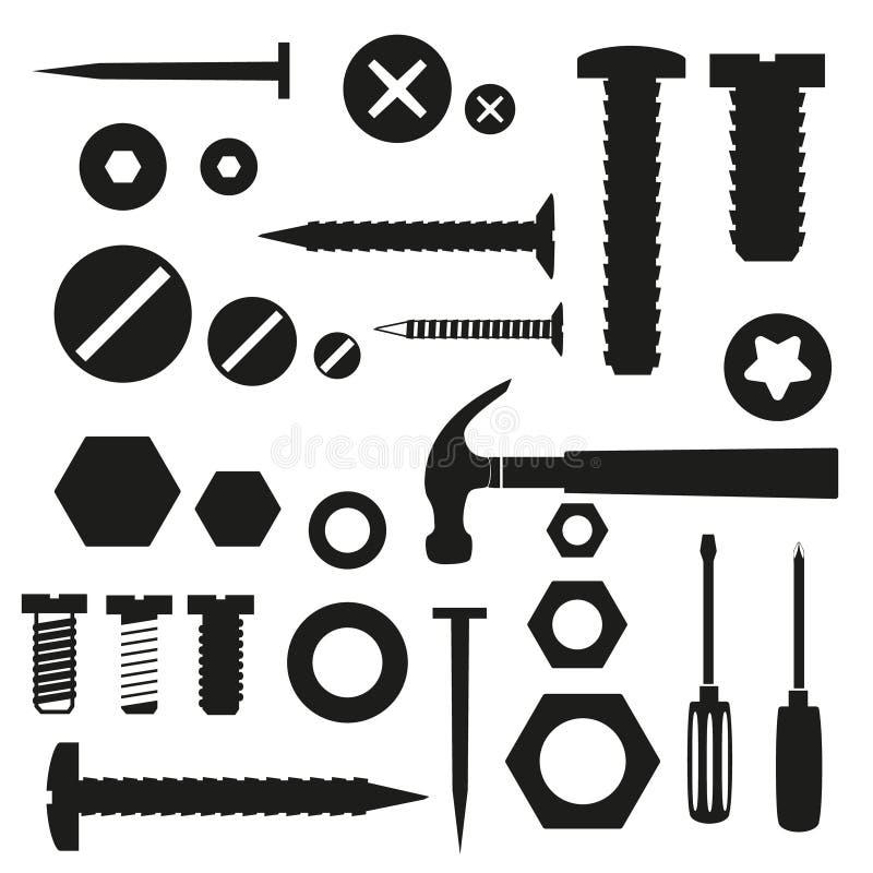 Maskinvara skruvar och spikar med hjälpmedelsymboler stock illustrationer