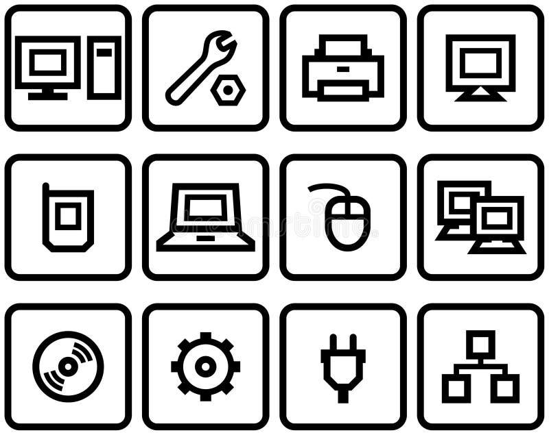 maskinvarusymboler ställde in vektorrengöringsduk royaltyfri illustrationer