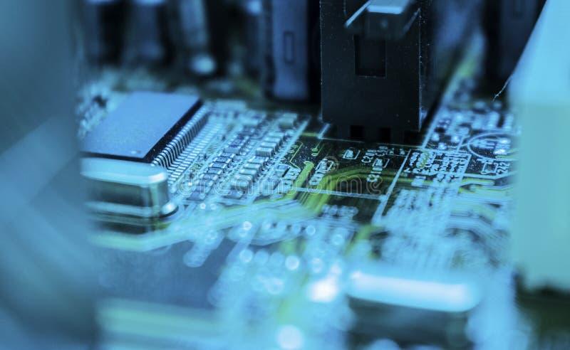 Maskinvaruteknologi för elektronisk dator Digital chipbakgrund för moderkort arkivfoto