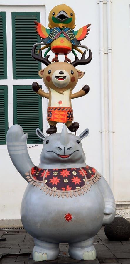 Maskot av asiatiska spelen 2018 royaltyfri foto