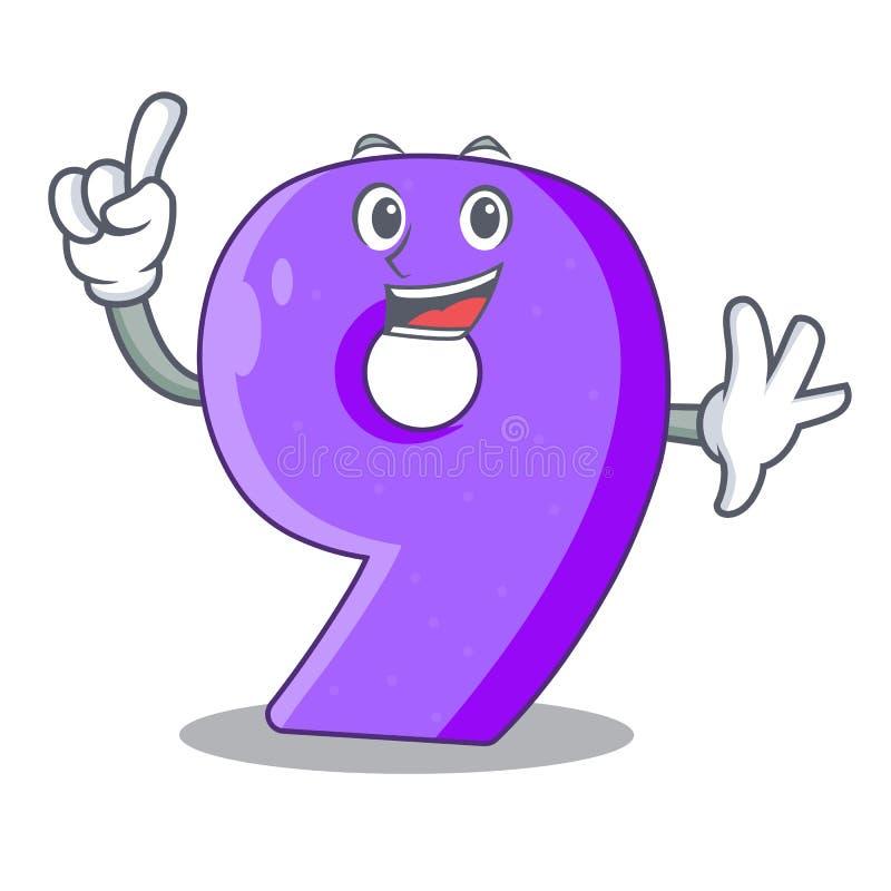 Maskot för bokstav för nummer nio för fingerpapperssnitt royaltyfri illustrationer