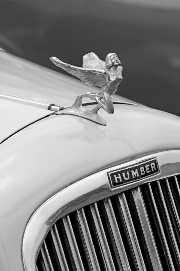Maskot för dam för flyg för tappninghumberbil royaltyfri foto