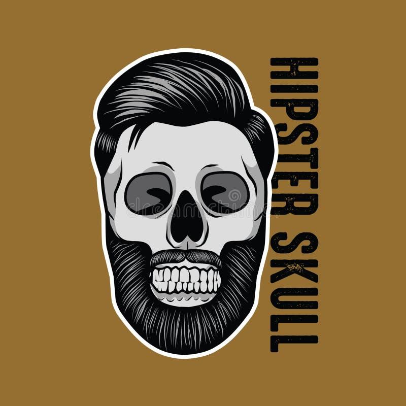 Maskot för Hipsterskalleillustration stock illustrationer