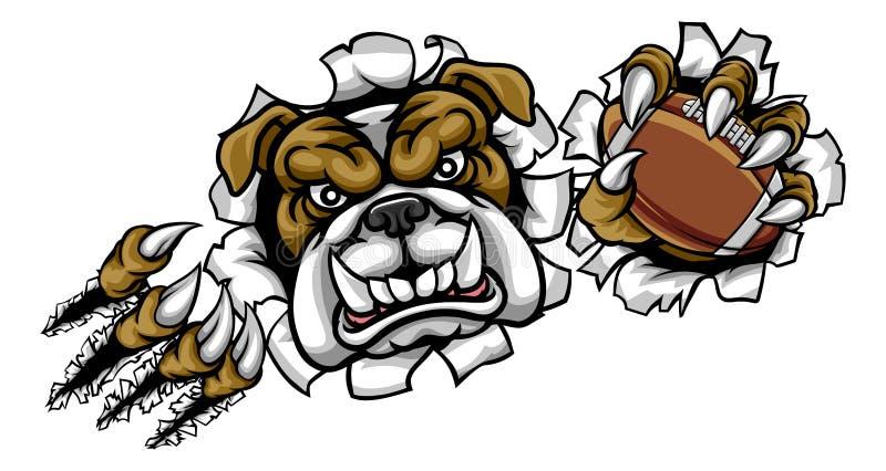 Maskot för sportar för amerikansk fotboll för bulldogg stock illustrationer