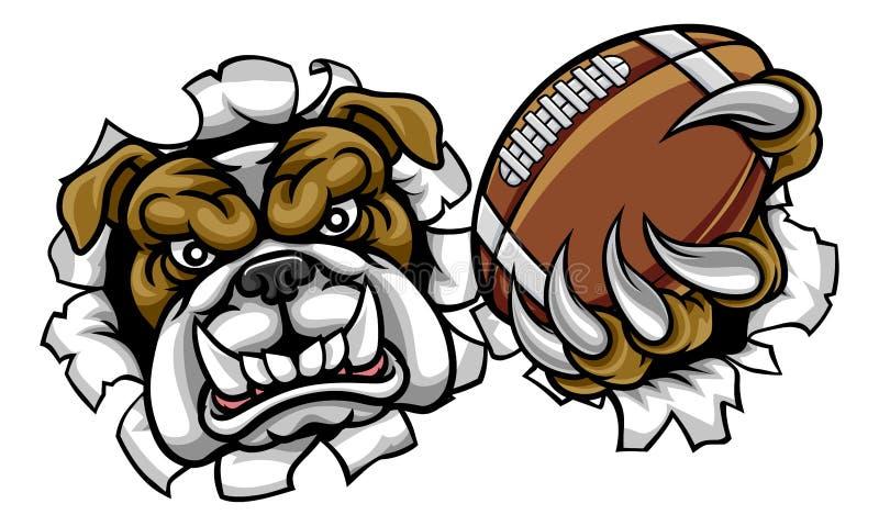 Maskot för sportar för amerikansk fotboll för bulldogg royaltyfri illustrationer