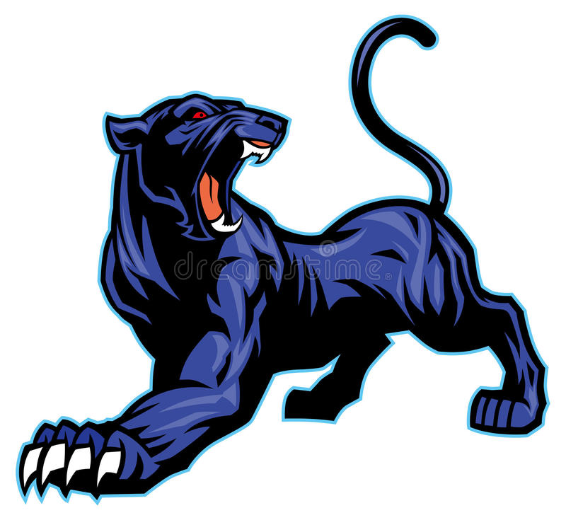 Maskot för svart panter royaltyfri illustrationer