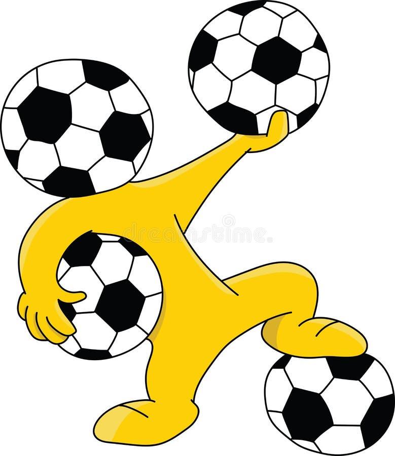 Maskot f?r tecknad film f?r fotbollboll som h?vdad rymmer bollvektorn vektor illustrationer