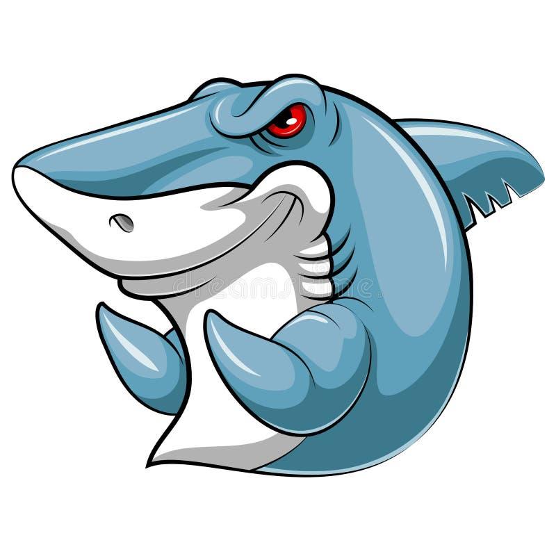 Maskotfisk av en haj vektor illustrationer
