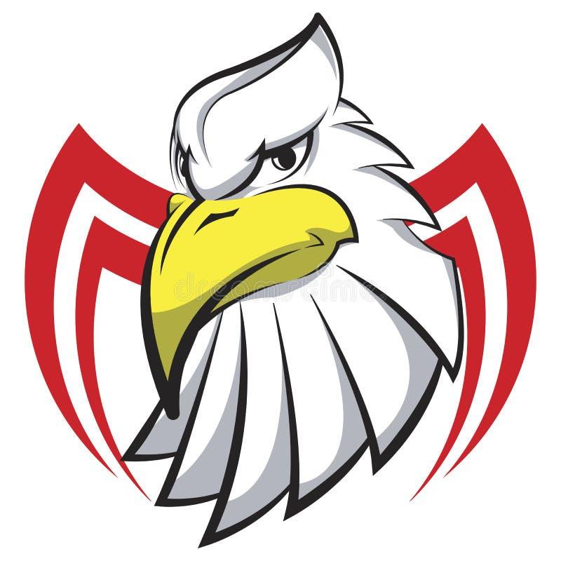 Maskothuvud av en Eagle i form av den stiliserade tatueringen, logo stock illustrationer