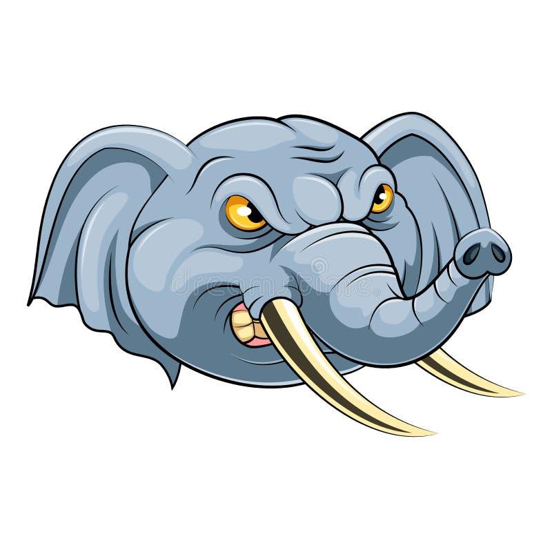 Maskothuvud av en elefant royaltyfri illustrationer