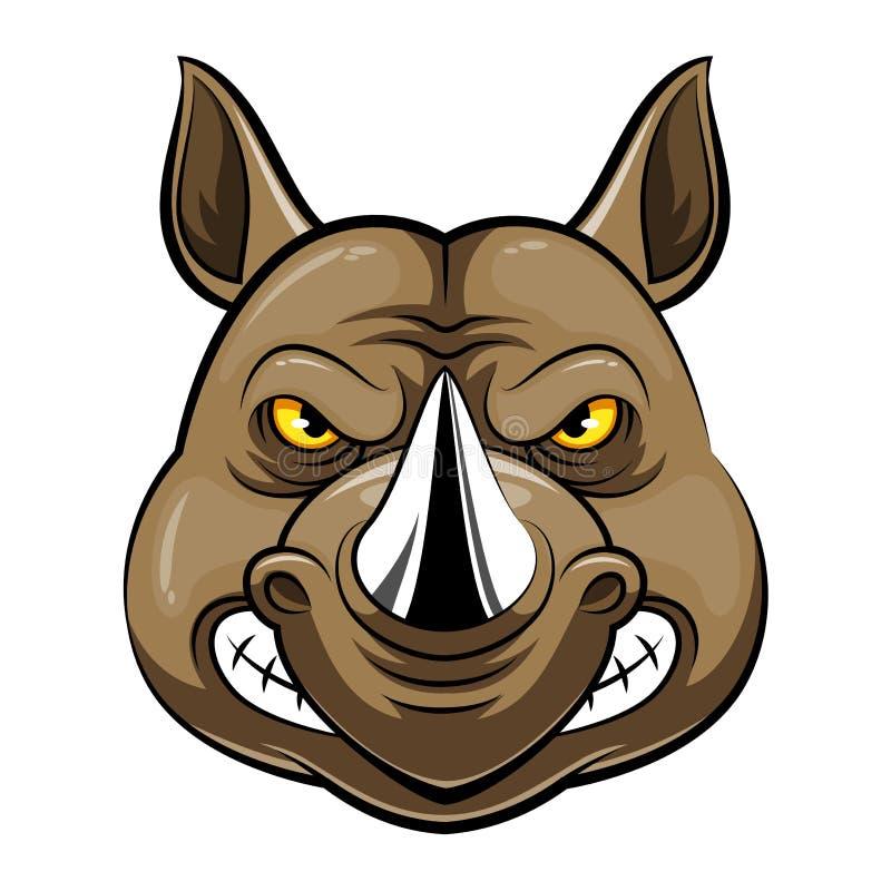 Maskothuvud av en noshörning vektor illustrationer