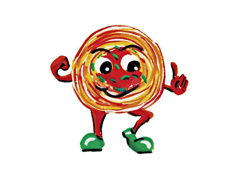 Maskotka spaghetti na białym tle obrazy stock