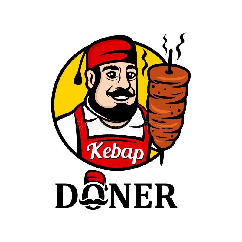 Maskotka sprzedawca Turecki jedzenie doner karmowego kebab tradycyjny turkish ilustracja wektor
