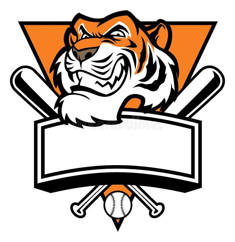 Maskotka tygrys głowy baseball royalty ilustracja