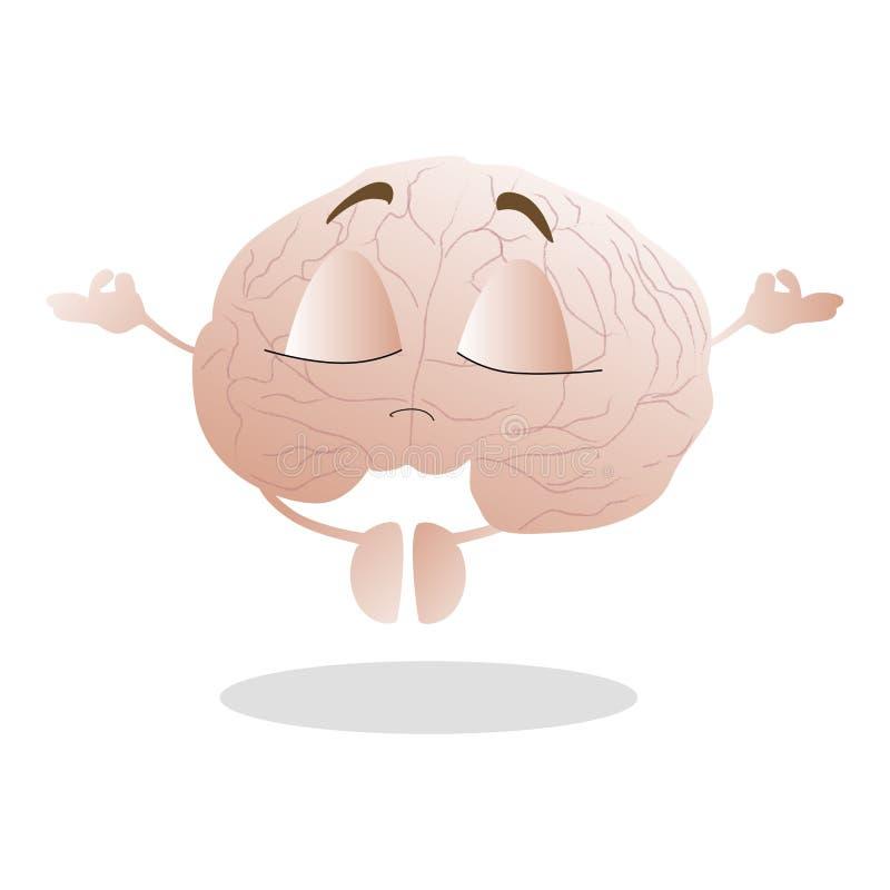 Maskotki móżdżkowa robi medytacja Odczucie spokój i pokojowy ilustracja wektor