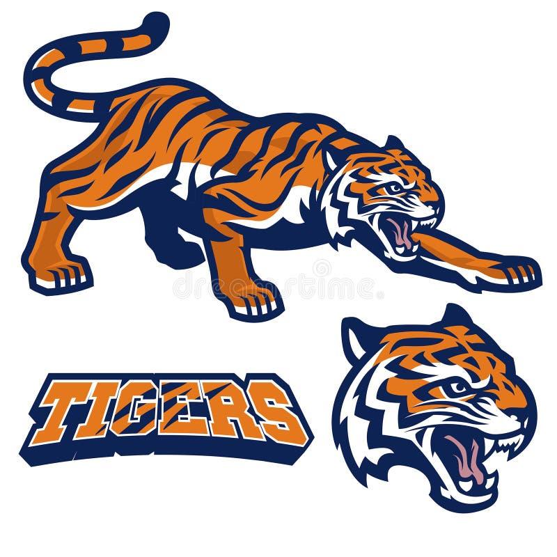 Maskotki tygrysi przycupnięcie w secie royalty ilustracja