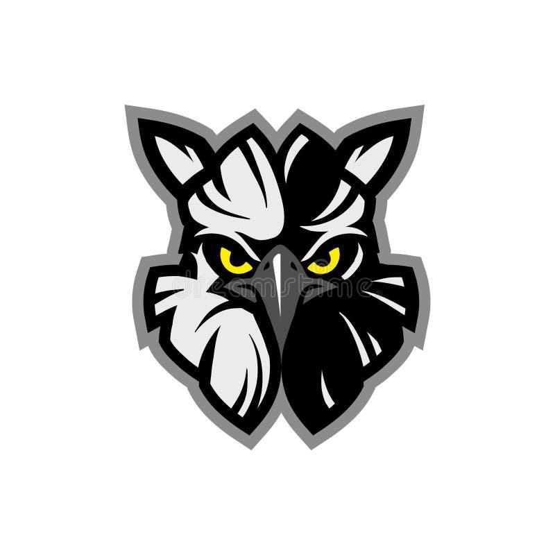 Maskotsymbolsillustration av huvudet av en amerikansk harpyja för Harpia för harpyörn, djur maskot för örnhuvud - logotyp royaltyfri illustrationer