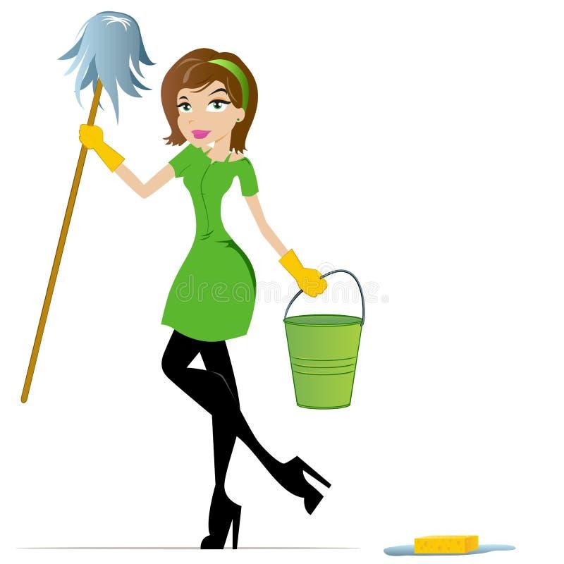 Maskottchen der Reinigungs-Dame-Karikatur lizenzfreie abbildung