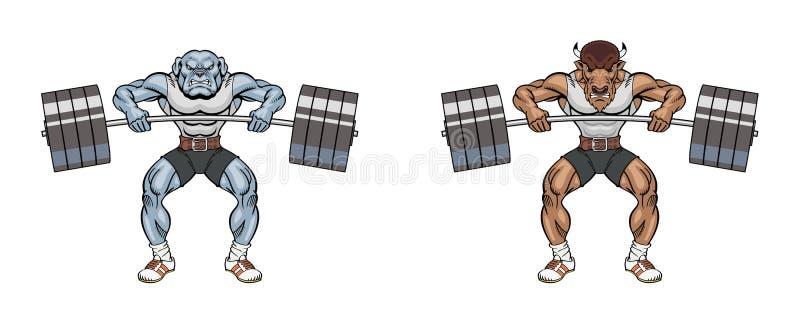 Maskottchengewichtheben lizenzfreie abbildung