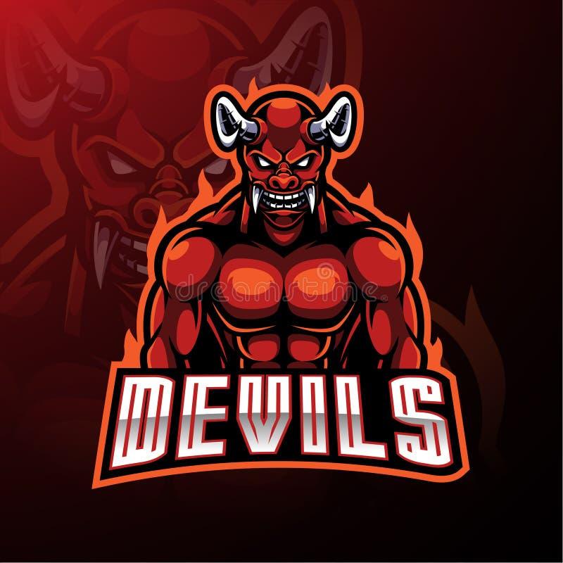 Maskottchenlogoentwurf des roten Teufels lizenzfreie abbildung