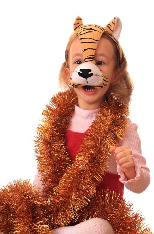 maskowy dziewczyna tygrys fotografia stock