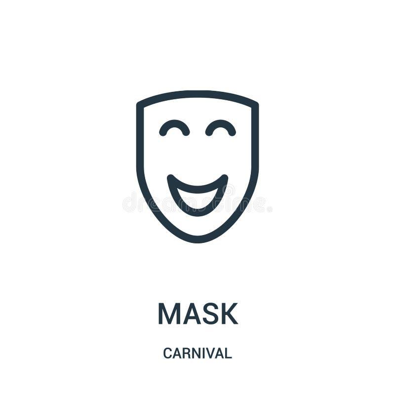 maskowy ikona wektor od karnawałowej kolekcji Cienka linii maski konturu ikony wektoru ilustracja ilustracji