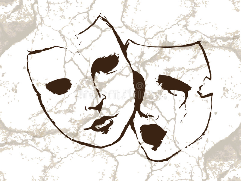 Masks. Representing comedy-tragedy theater