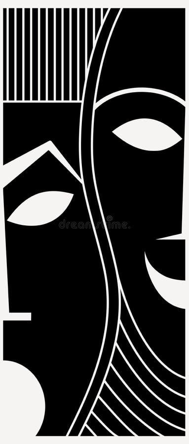 Download Masks stock illustration. Illustration of actor, contrasts - 7844798