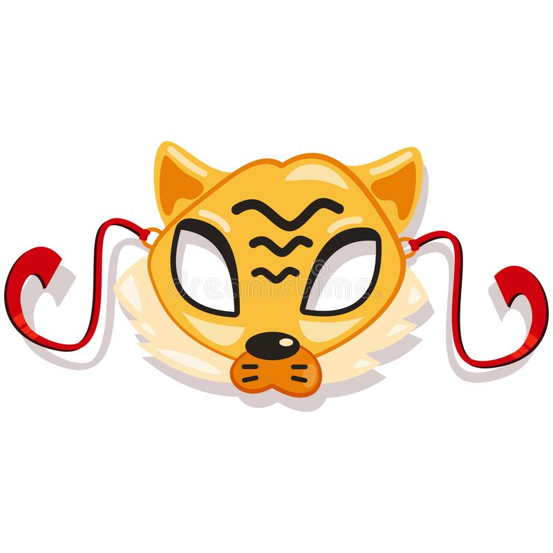 Masks animals for kids party. Tiger. Vector icon stock photography