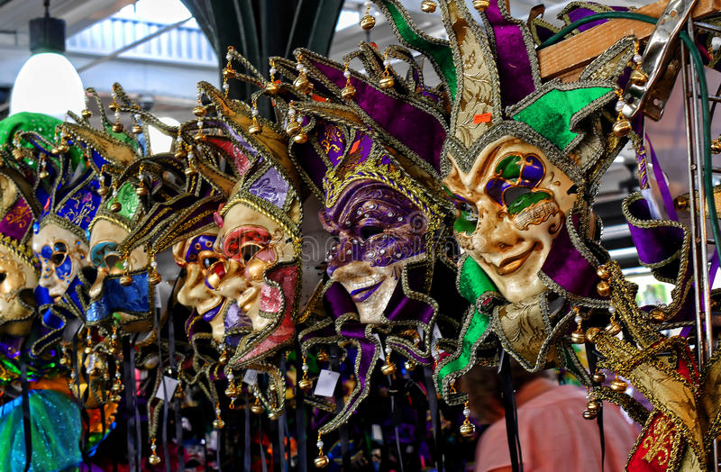 Masks in the French market in New Orleans a Louisiana city on the Mississippi River, near the Gulf of Mexico. stock photo