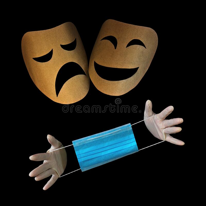 Free Masks Of Anger And Joy, With Hands In Medical Gloves Holding A Medical Mask. The Concept Of Ambiguous Attitude To The Epidemic. Royalty Free Stock Images - 176519399
