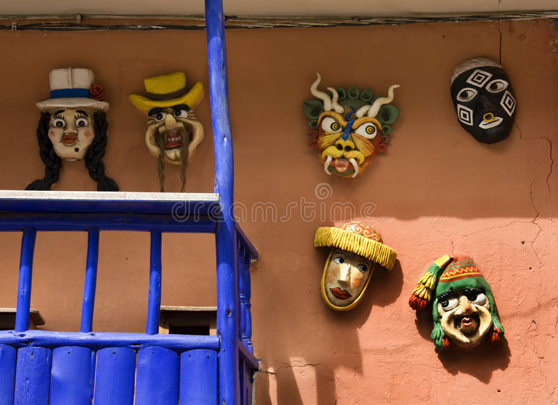 Masks - The Sacred Valley of the Incas - Peru royalty free stock image