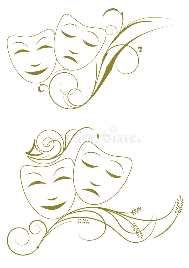 Masks. Theatre comedy and tragedy masks vector illustration